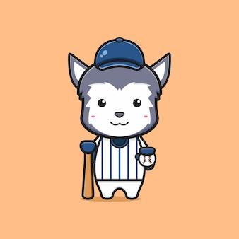 Illustrazione sveglia dell'icona del fumetto del giocatore di baseball del lupo. design piatto isolato in stile cartone animato