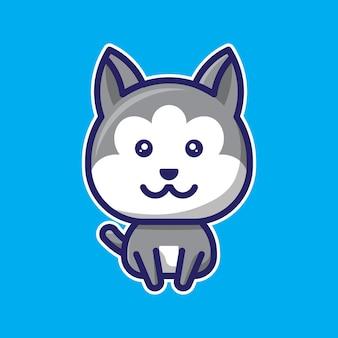 Simpatico personaggio chibi lupo