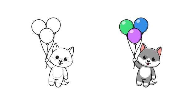 Lupo carino che tiene le pagine da colorare dei cartoni animati di palloncini per bambini