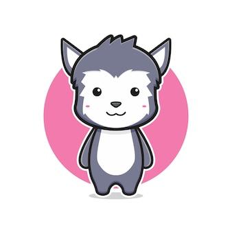 Illustrazione sveglia dell'icona del fumetto del carattere della mascotte del lupo. design piatto isolato in stile cartone animato