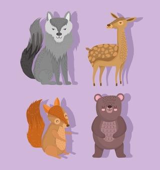 Simpatico lupo renna scoiattolo e orso animale con stelle nel disegno del fumetto