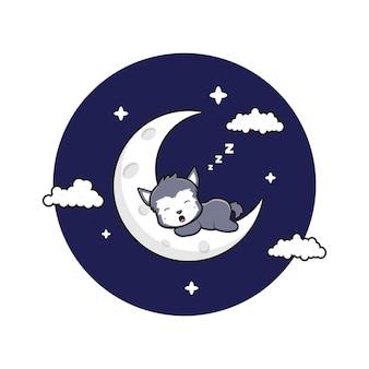 Lupo sveglio dorme sull'illustrazione dell'icona del fumetto della luna crescente. design piatto isolato in stile cartone animato