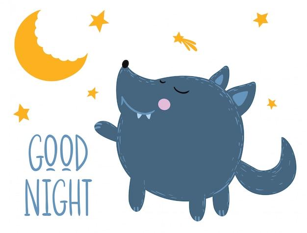 Il lupo carino augura buona notte.