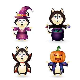 Lupo carino con la collezione di personaggi di halloween in costume