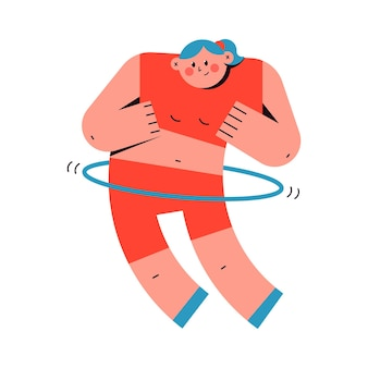Donna carina facendo esercizi di fitness con personaggio dei cartoni animati di vettore di hula hoop isolato su sfondo bianco.