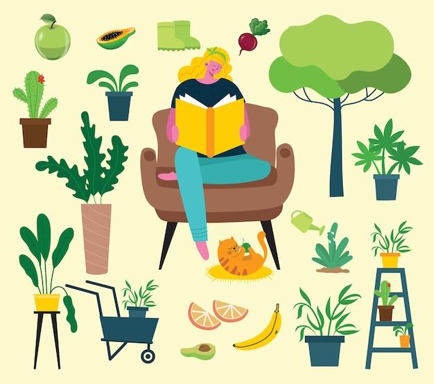 Donna carina seduta su una sedia con un libro nell'accogliente interno della casa scandinava vita quotidiana del lavo...