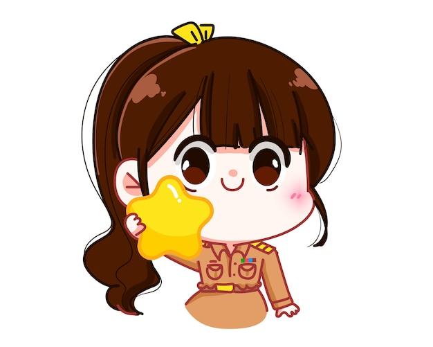 Insegnante di donna carina in uniforme governativa che tiene in mano un'illustrazione di arte del fumetto del personaggio della stella