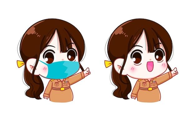 Insegnante donna carina in uniforme governativa che indossa l'illustrazione di arte del fumetto del personaggio della maschera facciale