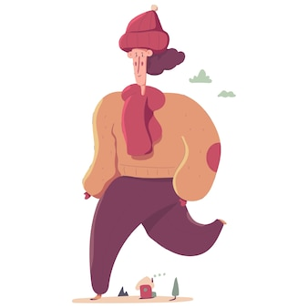 Donna sveglia nell'illustrazione del personaggio dei cartoni animati dei vestiti di inverno