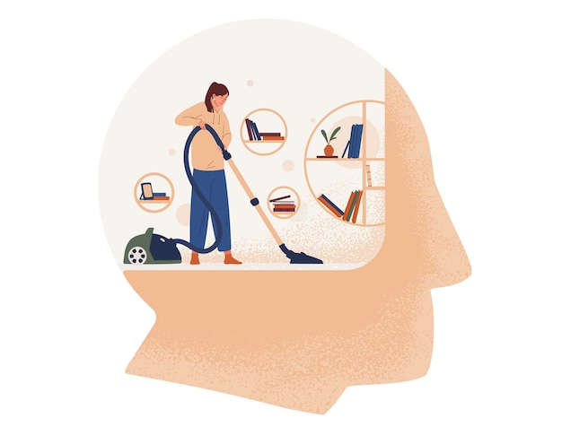 Donna carina con aspirapolvere camera di pulizia all'interno della testa gigante
