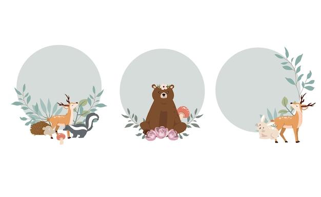 Simpatica collezione di oggetti del bosco con animali