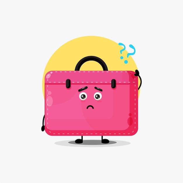 Simpatico personaggio della borsa da lavoro confuso