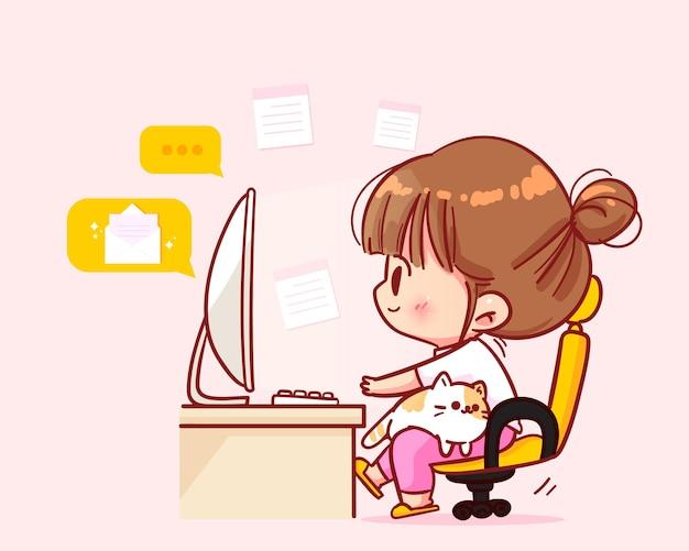 Simpatici lavoratori seduti alle scrivanie con illustrazione di arte del fumetto del gatto