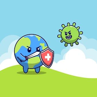 Il mondo carino combatte il coronavirus