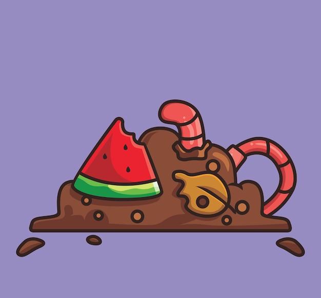 Verme carino che mangia spazzatura. concetto di natura animale del fumetto illustrazione isolata. stile piatto adatto per sticker icon design premium logo vettoriale. personaggio mascotte