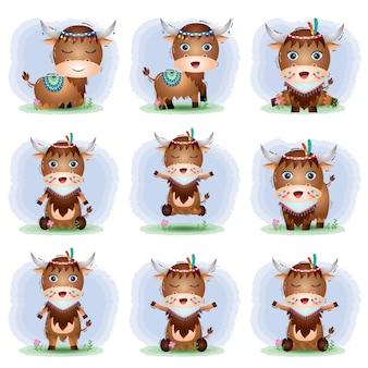 Una collezione di yak con costume apache