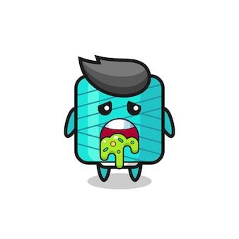 Il simpatico personaggio della bobina di filato con vomito, design in stile carino per maglietta, adesivo, elemento logo