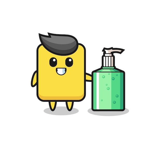 Simpatico cartone animato cartellino giallo con disinfettante per le mani, design in stile carino per maglietta, adesivo, elemento logo