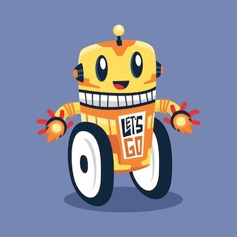 Design piatto simpatico robot giallo personaggio dei cartoni animati illustrazione