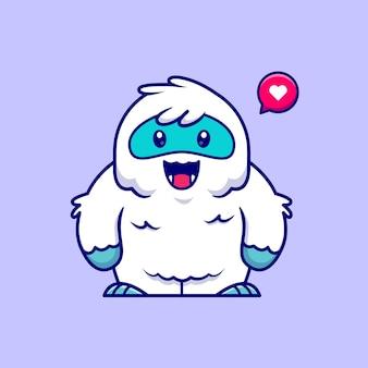 Illustrazione sveglia dell'icona del fumetto di yeti. natura animale icona concetto isolato. stile cartone animato piatto