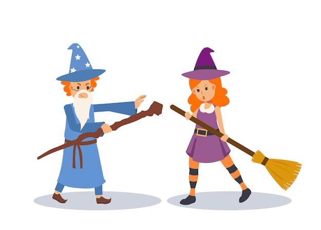 Il giovane ragazzo e la ragazza svegli in costume da mago / strega / mago stanno giocando a vicenda nella festa di halloween. illustrazione di carattere piatto.