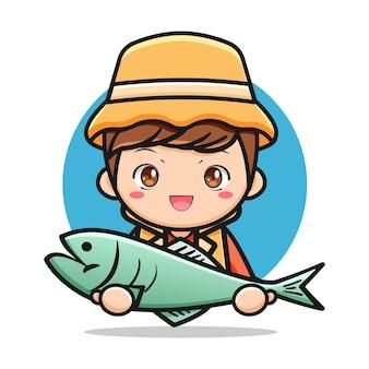 Carino giovane pescatore che tiene un grosso pesce