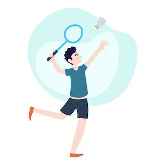 Un simpatico giovane che gioca a badminton nel pomeriggio. grafica perfetta per poster, banner e altro