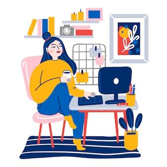 Giovane donna sveglia che si siede sulla sedia comoda con il computer e che lavora a casa. lavorare da casa. lavoratore indipendente, routine quotidiana. illustrazione piatta.