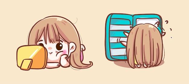 Una giovane donna carina che guarda la tv o una serie e cerca cibo nel frigorifero