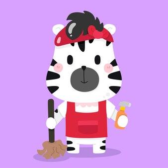 Cute zebra governante cartoon illustrazioni animali