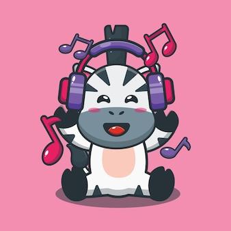 Musica d'ascolto di zebra carina con le cuffie