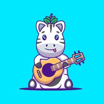 Zebra sveglia che gioca l'illustrazione del fumetto della chitarra. concetto di stile del fumetto piatto animale