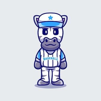 Zebra carina che indossa l'uniforme da baseball