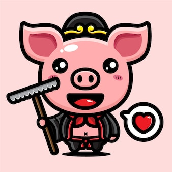 Simpatico design del personaggio cinese zhu bajie Vettore Premium
