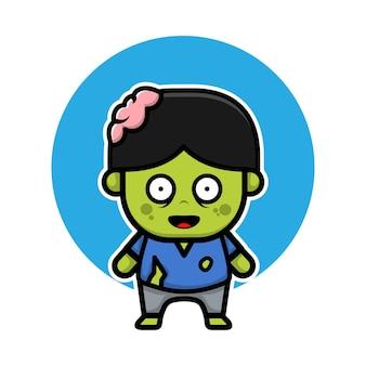 Simpatico personaggio dei cartoni animati di zombie illustrazione halloween concetto