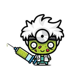 Disegno vettoriale carino zombie medico
