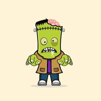 Simpatico personaggio di halloween frankenstein zombie vettore gratuito