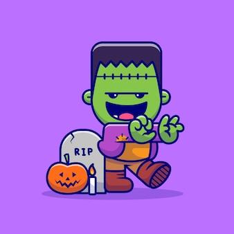 Frankenstein zombie carino a piedi