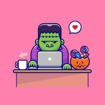 Zombie sveglio che lavora al computer portatile con caramelle e caffè