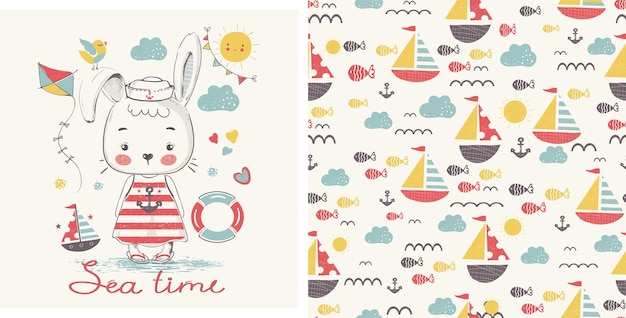 Cuterabbit sailorcartoon illustrazione vettoriale disegnato a mano può essere utilizzato per la stampa di magliette per bambini