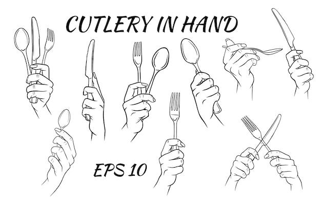 Posate. forchetta, cucchiaio e coltello in mano. stile cartone animato.