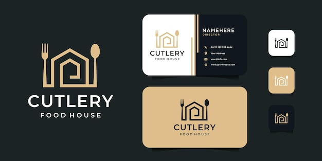Posate casa forchetta e cucchiaio logo design con modello di biglietto da visita.