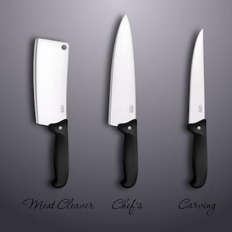 Icona della coltelleria messa - coltelli da cucina realistici isolati. modello di progettazione