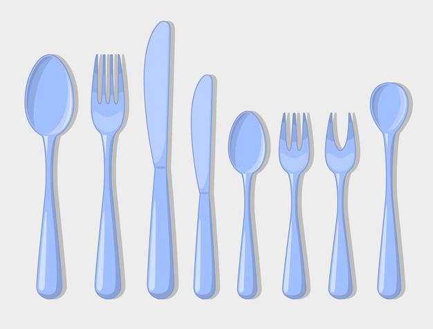 Posate set icone cucchiaio forchetta