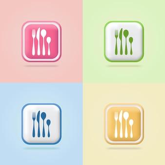 Set di posate elettrodomestici da cucina forchetta coltello cucchiaio segno logo 3d segno volumetrico banner web