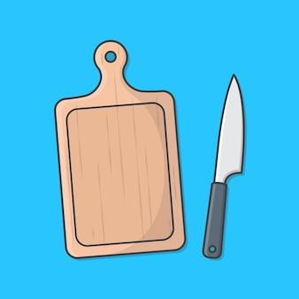 Tagliere e coltello da cucina icona