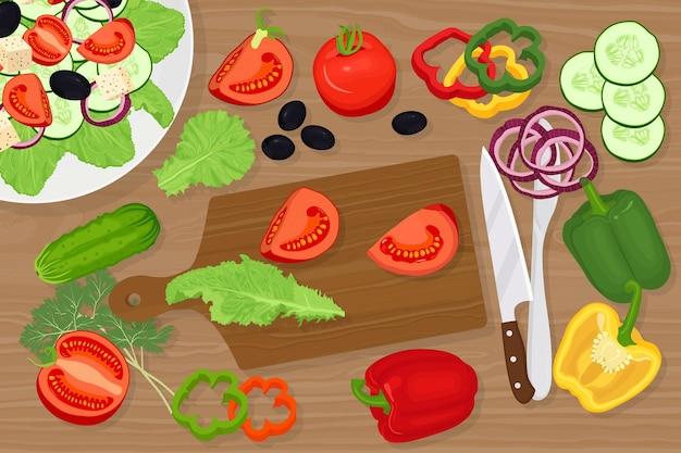 Tagliere con verdure e illustrazione di coltello