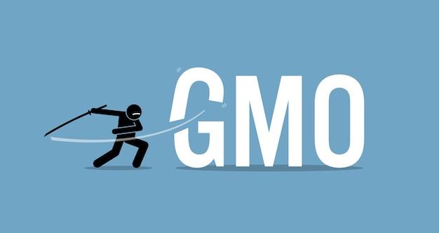 Tagliare alimenti ogm per una dieta sana. concetto di opera d'arte di stile di vita sano, mangiare biologico e smettere di mangiare cibo di organismi geneticamente modificati.