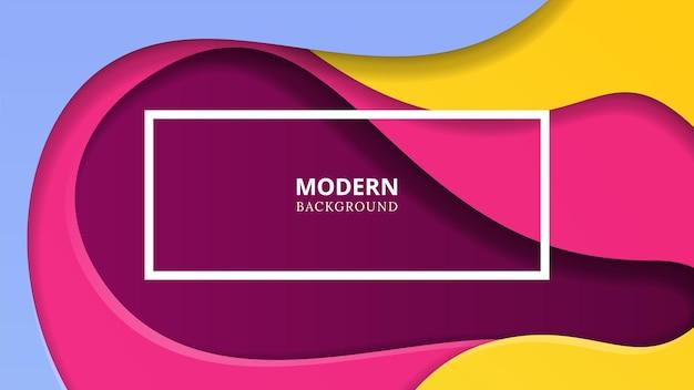 Taglio di sfondo della carta. onde di colore astratto, strati 3d viola rosa. taglia forme geometriche minimaliste