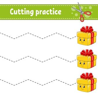 Pratica di taglio per bambini. foglio di lavoro per lo sviluppo dell'istruzione. pagina delle attività.